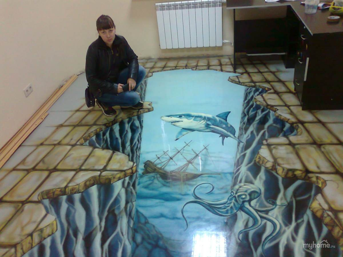 Рисунки на полу в квартире своими руками 90