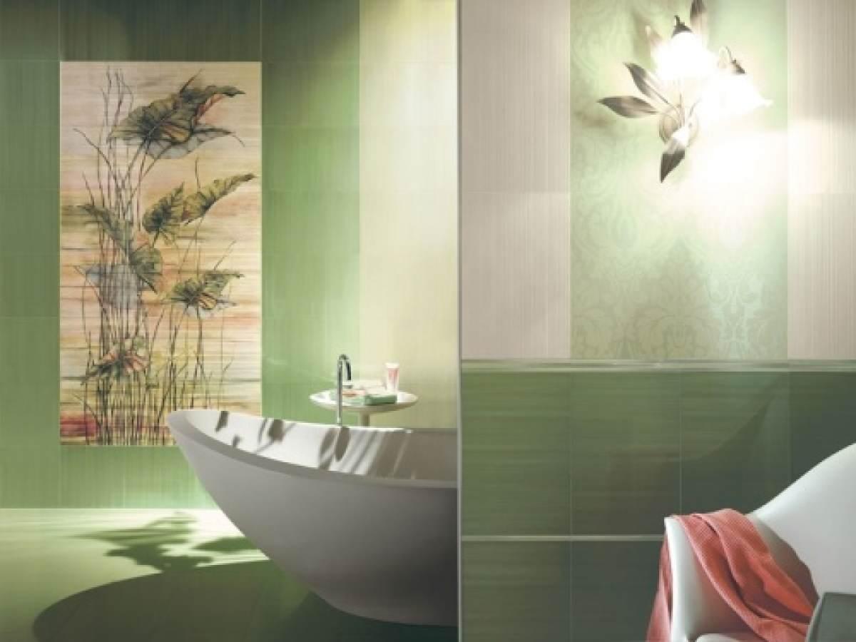 Панно цветы из плитки в ванной фото