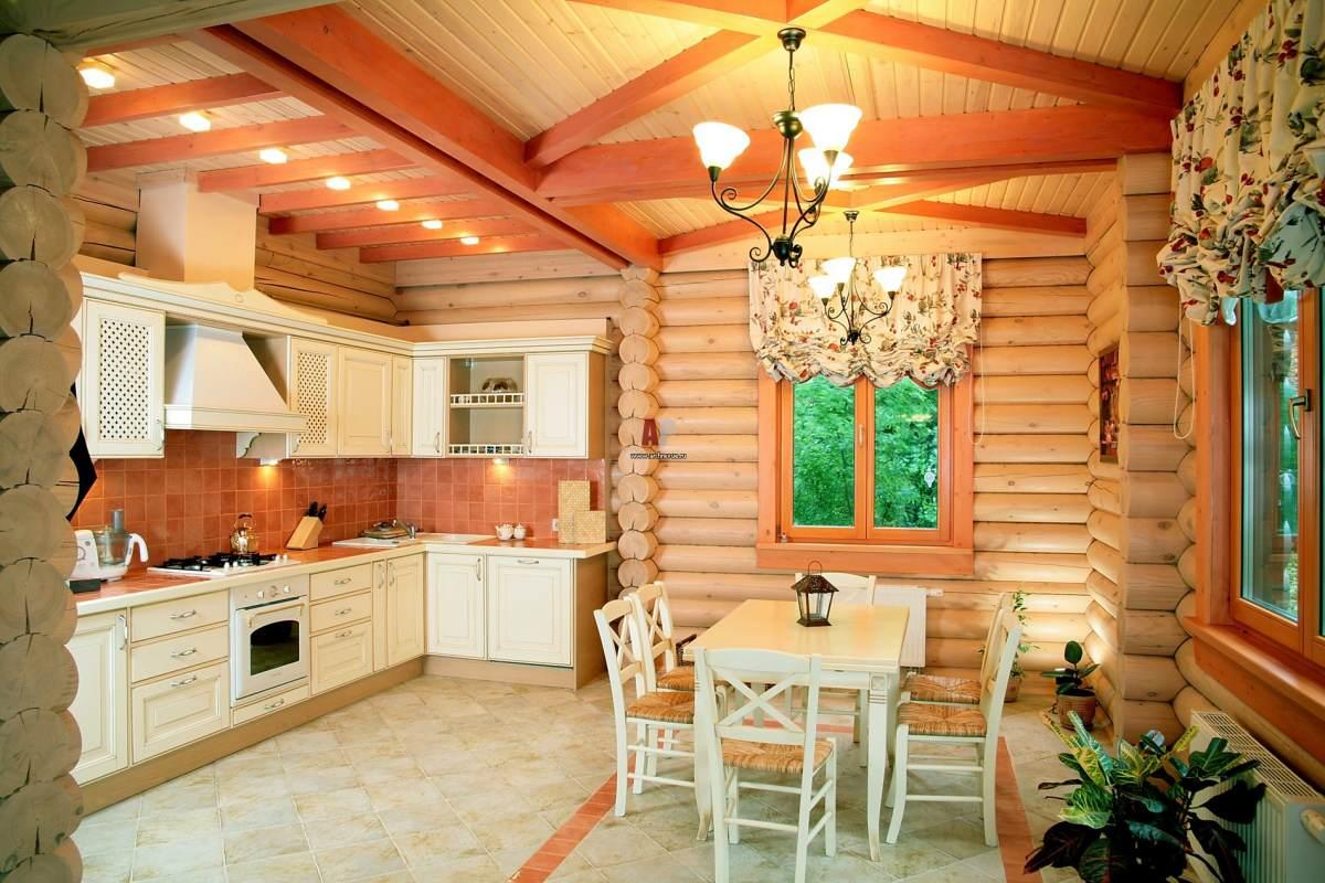 Интерьер деревянной кухни фото