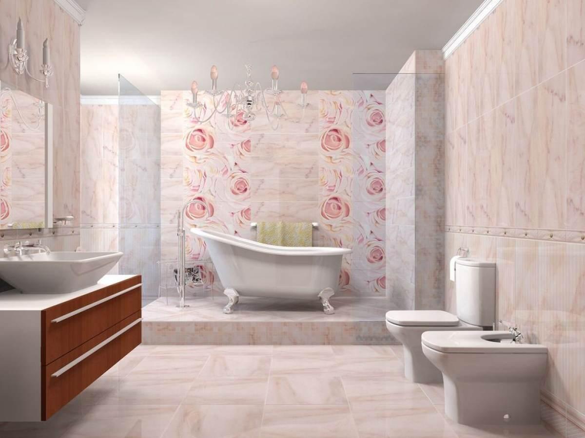Дизайн ванной комнаты плитка с цветами